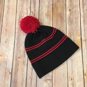Vintage Bar-W blue and red Pom Pom hat